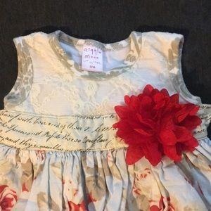 EUC Giggle Moon Girls 12M Floral sleeveless dress